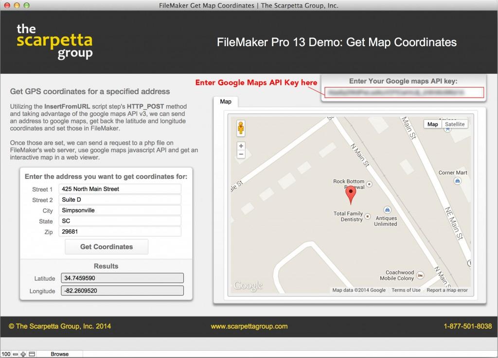 FileMaker 13 Google Maps API Geocode - The Scarpetta Group, Inc