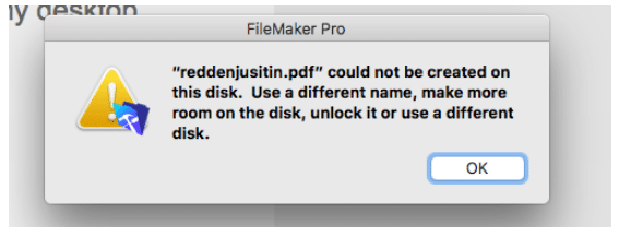 Error in FileMaker 16